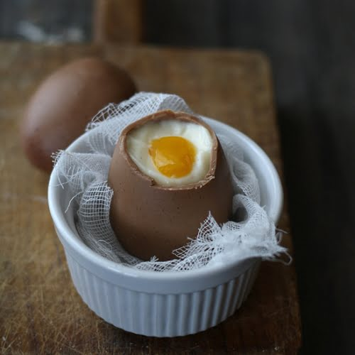 Huevos poché de chocolate
